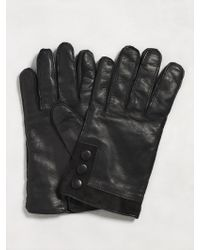 John Varvatos Leather Glove with Suede Cuff - Lyst