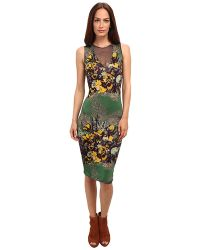 Jean Paul Gaultier Floral Jersey Sleeveless Dress with Tulle Inset - Lyst