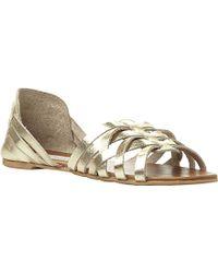 Steve Madden Flute Woven Huarache Leather Flat Sandals - For Women - Lyst