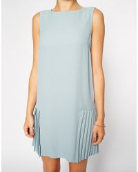 Asos Shift Dress With Drop Waist And Pleated Skirt - Lyst