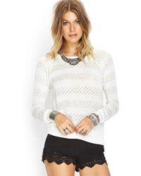 Forever 21 Metallic Stripe Sweater - Lyst