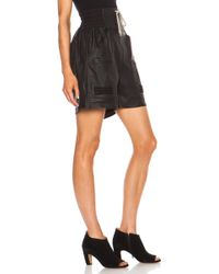 Rick Owens Leather Boxer Leather Short - Lyst