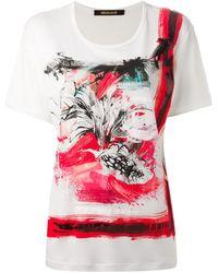 Roberto Cavalli Brush Stroke Print T-Shirt - Lyst