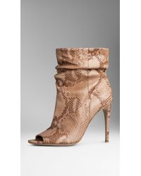 Burberry Python Peep-Toe Boots - Lyst