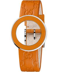 Gucci Ladies Uplay Interchangeable Orange Bezel Strap - Lyst