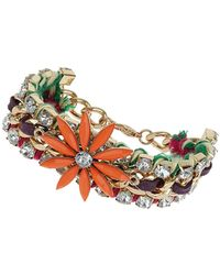 Topshop Womens Orange Flower Chunky Bracelet Multi - Lyst