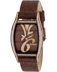 Le Vian Women'S Swiss Time Diva Diamond (1-7/8 Ct. T.W.) Brown Leather Strap 32X35Mm - Lyst