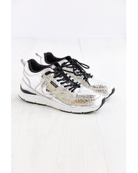 084fd611d0 Gourmet - Silver Croc Leather Sneaker - Lyst