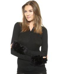 Jocelyn - Mandy Fur Mittens - Black/Cement - Lyst
