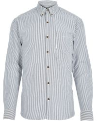 River Island Blue Only & Sons Striped Long Sleeve Shirt - Lyst
