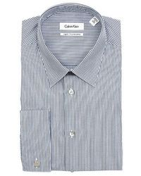 Calvin Klein Mens Blue Striped French Cuff Cotton Dress Shirt - Lyst
