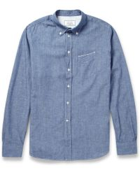 Officine Generale Japanese Chambray-Cotton Shirt - Lyst
