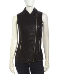 Love Token Quilted Faux-Leather Zip Vest - Lyst