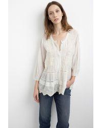 Velvet By Graham & Spencer Zumera Cream Embroidered Cotton Voile Blouse beige - Lyst