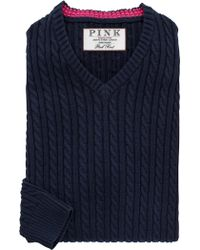 Thomas Pink - Butterfield Cable Knit Cotton Jumper - Lyst