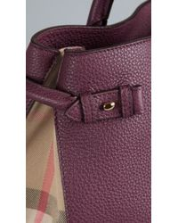 Burberry The Medium Banner in Leather and House Check - Lyst