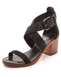 Belle By Sigerson Morrison Afton Cross Strap Suede Sandals Nero - Lyst