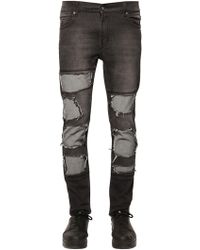 Cheap Monday 15.5Cm Patched Stretch Denim Skinny black - Lyst