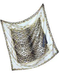 Roberto Cavalli Jewels And Animal Print Silk Square Scarf - Lyst