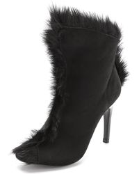Pedro Garcia Saskya Open Toe Fur Booties Black - Lyst