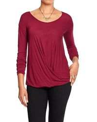 Old Navy Red Drapefront Top - Lyst