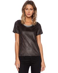 Monrow Perforated Leather Tee - Lyst