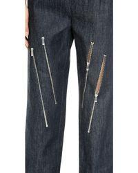Jay Ahr - Zipper Crop Jeans - Blue - Lyst