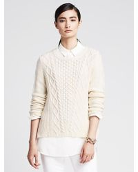 Banana Republic Vented Cable-Knit Pullover - Lyst