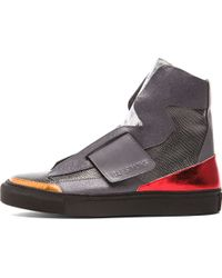 Raf Simons Mens High Top Strapped Sneaker - Lyst