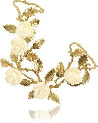 Bernard Delettrez - Thumbforefinger Bronze Ring Wwhite Resin Roses - Lyst