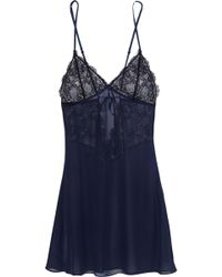 Elle Macpherson - For You Lace Trimmed Silk Chiffon Chemise - Lyst