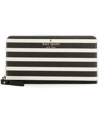Kate Spade Lacey Striped Wallet black - Lyst