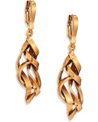 Oscar de la Renta Ribbon Drop Earrings gold - Lyst