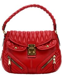 Miu Miu Red Lambskin Matelasse Quilted Convertible Shoulder Bag - Lyst