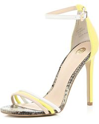 River Island Yellow Triple Strap Barely There Sandals - Lyst