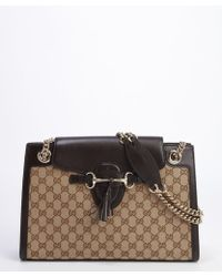Gucci Beige and Brown Gg Canvas Emily Shoulder Bag - Lyst