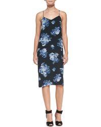 Tibi Floreale Midilength Slip Dress Black Multi 2 - Lyst