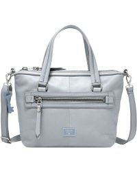 Fossil Dawson Leather Satchel blue - Lyst