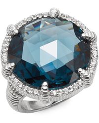 Judith Ripka | Eclipse London Blue Spinel, White Sapphire & Sterling Silver Round Ring | Lyst