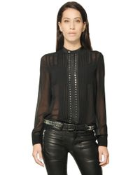 Diesel Black Gold Light Georgette Mini Studded Shirt - Lyst
