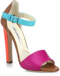Brian Atwood Iosy Colorblock Snakeskin Sandals - Lyst