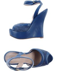Elie Saab Sandals blue - Lyst