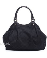 Gucci Pre-owned Black Monogram Canvas Small Sukey Bag - Lyst