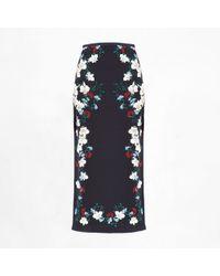 Erdem Maira Skirt Hibiya Navy blue - Lyst