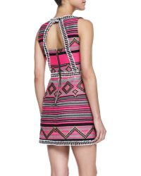 Milly Diamond Striped Jacquard Mini Dress - Lyst