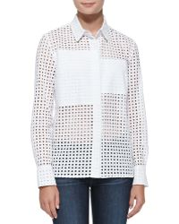 Victoria Beckham Basic Perforated Patchwork Cotton Shirt - Lyst