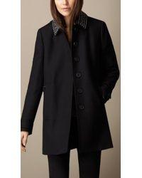 Burberry Showerproof Wool Twill Stud Detail Coat - Lyst