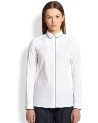 Burberry Silkpiped Cotton Poplin Shirt - Lyst