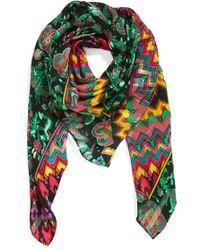Nicole Miller - 'bohenza' Floral & Stripe Print Silk Scarf - Lyst