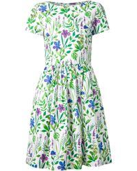 Oscar de la Renta Flower Print Dress - Lyst